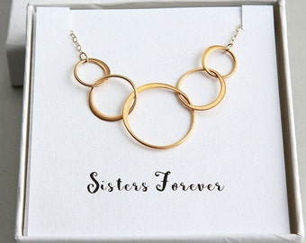 Ring Necklace, Five Sisters Necklace, Five Circles Necklace, 5 Rings Necklace, Sister Necklace, Gold Ring Necklace, Sisters Forever Necklace