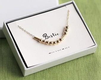 Bestie Necklace, Bestie Morse Code Necklace, Bestie Jewelry, Friendship Necklace, Best Friend Morse Code Necklace, Bestie Gift, BFF Necklace