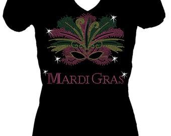 Mardi Gras Mask Rhinestone V Neck Short Sleeve Womens  Tee Shirt