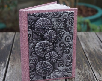 Pink notebook - Flower book, Gifts for her, Handmade book, Polymer clay journal, Gifts for women, Glitter gift, Womens gift, Floral notebook