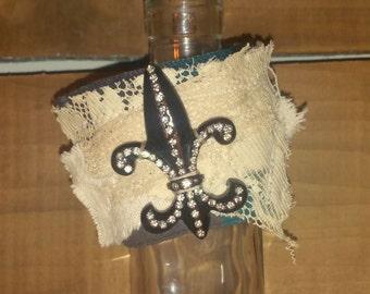 Fleur De Lis Bracelet Plaid Flannel Fabric Bracelet Cuff Wrist Cuff Bracelet Upcycled Jewelry