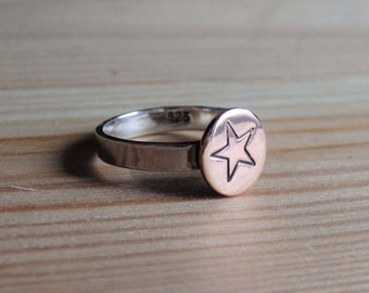 Sterling Silver and Copper Stacking Ring with Handstamped Star