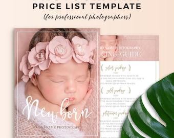 Newborn Photography Price List Template - Newborn Photography Pricing Guide - Newborn Photography Price Sheet Photoshop Template PSD