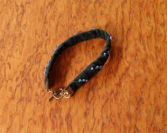 Bracelet denim, black beaded bracelet, jeans bracelet black, denim jewelry, jeans beaded bracelet, boho jewelry, country western jewelry W4
