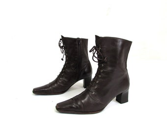 Vintage 1990's Brown leather Boots Lace Up Boots Victorian Style Boots Made in Italy Size EUR 36 US 6 UK 3 1/2