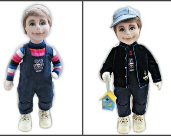 "Soft sculpture, textile doll, handmade doll, doll ""Alex"", 43 cm high"