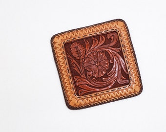 SALE!! Hand Tooled Leather Wall Art, Western Floral Picture and Frame, Handmade Home Decoration, with 2 eyelets for hanging.