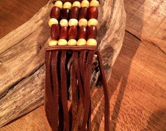 Keychain  braun horn and wood   ref: KC 8