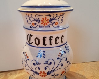 """Vintage """"Heritage"""" Royal Sealy Coffee Canister; (Blue Onion Look); Japan"""