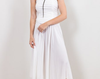 70s White Ruched Party Dress / Disco Vintage Jersey Midi Dress John Charles