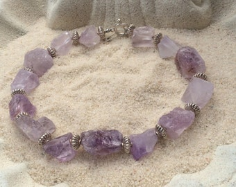 Amethyst chain from raw stone
