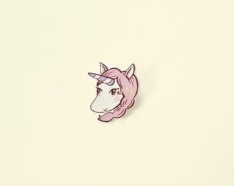 Unicorn pin | pastel pink illustrated unicorn | shrink plastic brooch