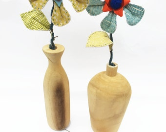 Fabric Flower, handmade stitched, forever flower, printed fabric, yellow flower, home decor , flower and vase, wooden vase, Mothers day gift