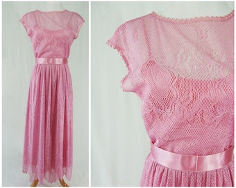 Pink Pastel Brides Maid Dress 70's Bridesmaid // Rose Lace Maxi Dress with Ribbon Belt // Small