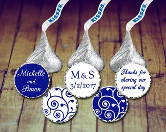 Hershey Kisses Stickers Wedding - Stickers Wedding Kisses, Navy Blue Wedding Stickers, Navy Wedding Favor, Wedding Kisses Stickers