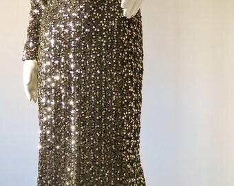 Gorgeous 1970s Golden Sequin Floor-length Gown by Lilli Diamond w/ Mermaid Hem PLUS SIZE