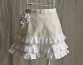 High-waisted Flared Linen Shorts with Bohemian, Seaside Cottage Ruffles Custom Size