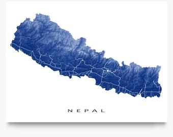 Nepal Map Print, Kathmandu Map Art Poster, Mount Everest