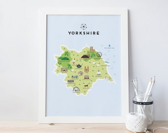 Map of Yorkshire - Illustrated map of Yorkshire