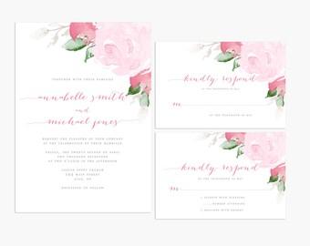 Printable Floral Wedding Invitation, Wedding Invitation Suite, Cursive Wedding Invite, Wedding Invitations