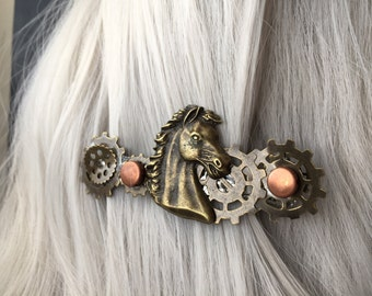Gift-For-Her Horse Hair Clip, Country Wedding Gift for Women, Gift for Mom, Western Jewelry for Women, Horse Jewelry for Her Steampunk Horse