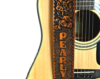 Hibiscus Flower Leather Guitar Strap, Personalized Guitar Strap, Flowers Strap, Hand Tooled Leather Guitar Strap