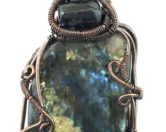 Labradorite Gemstone Pendant with Blue Tourmaline, wire wrapped in copper. Penetrating the Void Psychically