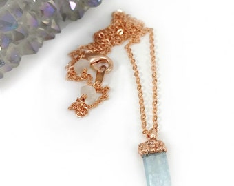 Aquamarine Necklace, Raw Stone Necklace, March Birthstone, Electroformed, Gemstone, Crystal, Bridesmaid Gift, Minimalist, Dainty, Copper