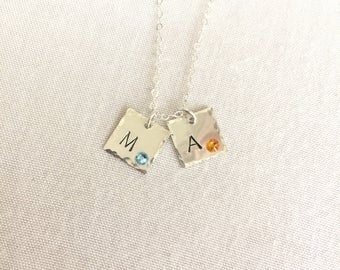 Initial Birthstone Necklace, Scrabble Necklace, Sterling Silver, Mother Necklace, Birthday Gift, Anniversary Necklace, Dainty Necklace