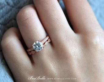 1.62 ct.tw Solitaire Art Deco Bridal Set Ring-Engagement Ring w/ All or Half Eternity Ring-Rose Gold Plated-Sterling Silver [65406RG-2A]