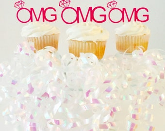 OMG Engaged Cupcake Toppers - Bride to Be - Engagement Ring - Engagement Party - Diamond Ring - Party - Cake Topper - Pink - Mr and Mrs