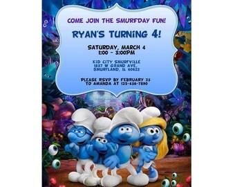 Smurfs invite, Smurfs invitation, Smurfs birthday, Smurfs party, Smurfs movie, Smurfs digital, Smurfs printable