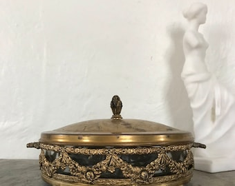 Vanity Decor, vintage, lidded bowl, condiment caddy, gold, swags and bows, repurposed jewelry organizer, Paris decor
