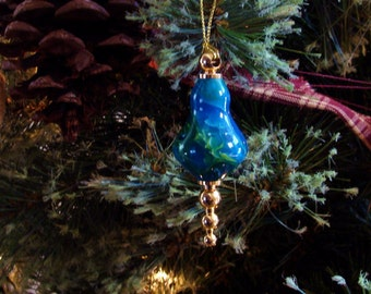 Hand Turned Blue Green Ocean and Gold Christmas Ornament