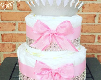 2 Tier Little Princess Diaper Cake - Pink , Silver & White