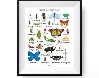 Insect Alphabet Chart Art Print