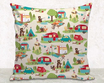 """Pillow Cover • Cushion Cover • Glamping • Camping Decor • Retro Accessories • Travel Trailer • Fits 16""""x12"""", 16""""x16"""" or 20""""x20"""" Pillow Form"""