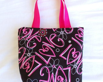 Valentine's Day Fabric Gift Bag/ Small Tote/ Hostess Gift Bag- Love on Black