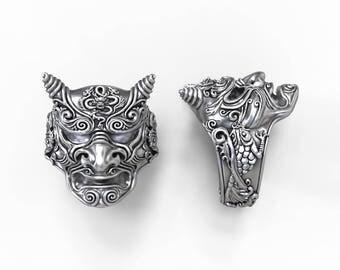 Japanese Demon ring - Hannya mask  - silver, gold, palladium, platinum