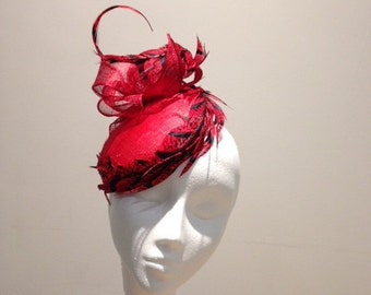 Red Races Hat for Ladies Day, Ascot Hat, Feather, Statement Hat,  Designer Millinery