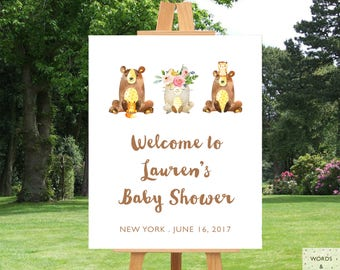 Woodland Baby Shower Decorations, Baby Shower Banner, Baby Shower Decor Girl, Baby Girl Shower Decoration,  Baby Shower Sign, Printable