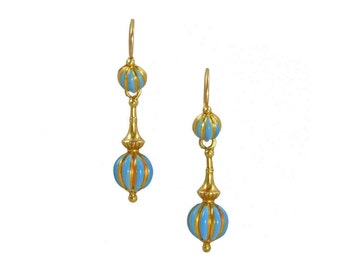 Antique French gold drop earrings with blue enamel, circa 1870.