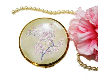 vintage gold compact mirror. vintage gold toned blush compact with cherry blossoms, pink compact, floral mirror e