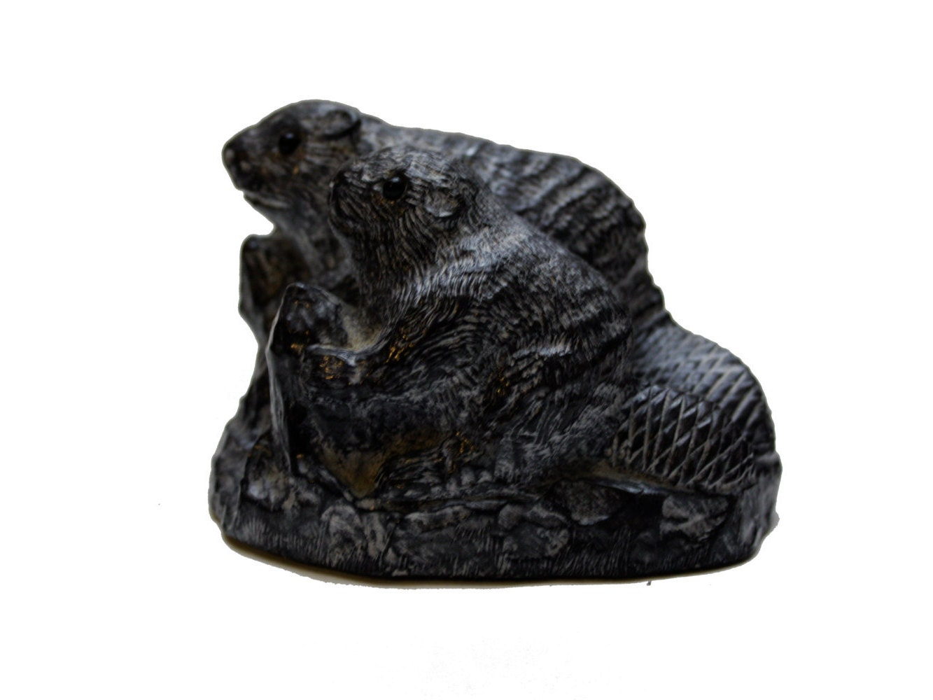 Vintage beaver soapstone carving the wolf sculptures hand