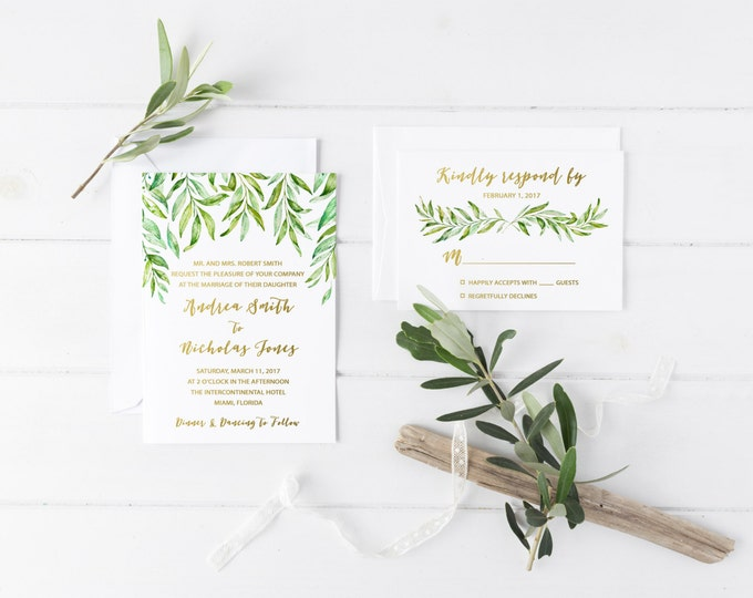 Leaf Wedding Invitation, Watercolor Leaf Wedding Invitation, Rustic Wedding Invitation, Bohemian Wedding Invite, Printed