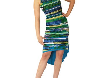 Turquoise & Green Stripe - Reversible Tango Dress