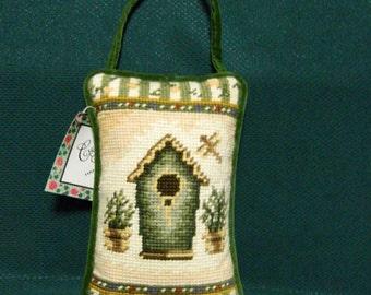 "Door Knob Hanger Needlepoint Small Stuffed Cushion Pillow w/ Strap Tapestry Bird House Feeder Dragon Fly Fern Spring 8"" x 5"" Rectangle"