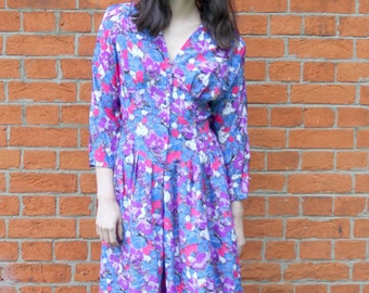 80's Floral Dress Vintage Floral Dress 80's Dress Size UK14 Floral Print  Vintage Summer Dress 80's Women's Clothing