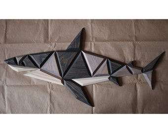 wooden shark wall decor