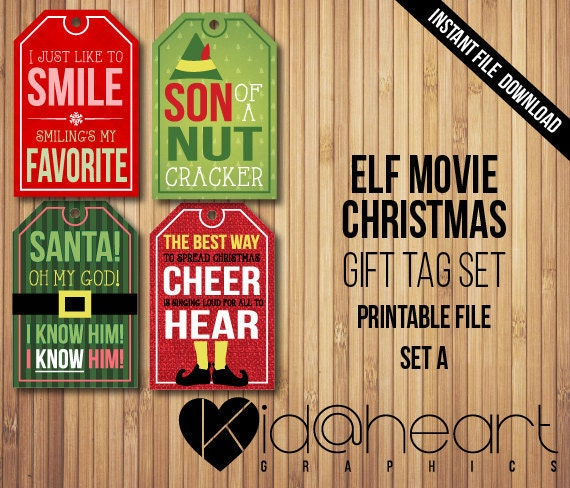 Quotes About Christmas Gifts: Buddy The Elf / Gift Tag Set / Movie / Funny / Quotes / Santa